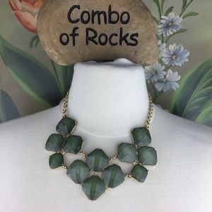 New York & Co Faceted Green Statement Necklace